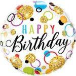 """Szülinapi fólia lufi 18"""" 45cm Happy Birthday, 57292"""
