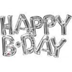 Happy B-day felirat, fólia betűk, levegővel tölthető, ezüst, 76x48cm, 07-3309501