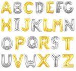 """Betű lufi 31"""" 80cm óriás arany fólia betű, H betű, Héliummal töltve"""