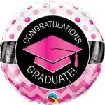 """Ballagási fólia lufi 18"""" 45cm Congratulations graduate!, 47511, héliummal töltve"""