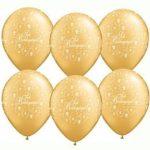 """Esküvői latex lufi 11"""" 28cm  6db arany, gold Sok boldogságot!, 606359"""