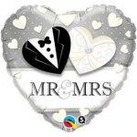"""Esküvői fólia lufi 18"""" 45cm Mr&Mrs, 15771"""