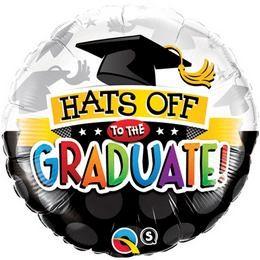 """Ballagási fólia lufi 18"""" 45cm  Hats off to the graduate!, 93214"""