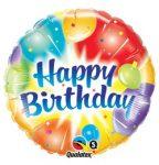 """Szülinapi fólia lufi 18"""" 45cm Happy Birthday, 18158, héliummal töltve"""