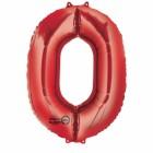"""Számos lufi 34"""" 86cm óriás piros fólia szám, számjegy 0 Héliummal töltve"""
