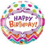 """Szülinapi fólia lufi 18"""" 45cm Happy Birthday, 28124"""
