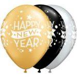 "QUALATEX 11"" (28cm-es) -  25db/csomag - Happy New Year"