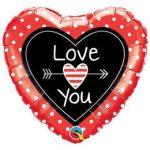 """Fólia lufi 18"""" 45cm """"I love you"""" szív, 54850"""