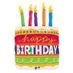 """Szülinapi lufi 35"""" 89cm óriás fólia Happy Birthday, torta, 17269"""
