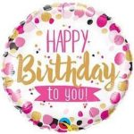 """Szülinapi fólia lufi 18"""" 45cm Happy Birthday, 49170, héliummal töltve"""
