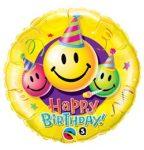 """Szülinapi fólia lufi 18"""" 45cm Happy Birthday, Smiley, 29644, héliummal töltve"""