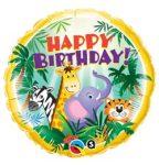 """Szülinapi fólia lufi 18"""" 45cm Happy Birthday, dzsungel, 31014"""