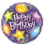 """Szülinapi fólia lufi 18"""" 45cm Happy Birthday, 91287, héliummal töltve"""