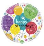 """Szülinapi fólia lufi 18"""" 45cm Happy Birthday, 28957"""
