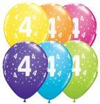 """Latex szám, számos lufi 11"""" 28cm 6db 4-es szám lufi, 17834"""
