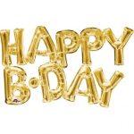 Happy B-day felirat, fólia betűk, levegővel tölthető, arany, 76x48cm, 07-3375901