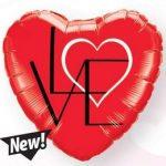 """Fólia lufi 18"""" 45cm LOVE szív, 46079"""