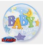 """Mintás Bubbles lufi 22"""" 56cm Baby boy Héliummal töltve"""
