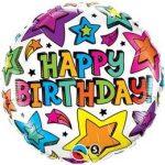 """Szülinapi fólia lufi 18"""" 45cm Happy Birthday, 41658, héliummal töltve"""
