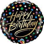 """Szülinapi fólia lufi 18"""" 45cm Happy Birthday, 57295, héliummal töltve"""