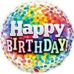 """Szülinapi fólia lufi 18"""" 45cm Happy Birthday, 49496, héliummal töltve"""