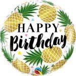 """Szülinapi fólia lufi 18"""" 45cm Happy Birthday, ananas, ananász, 57277"""