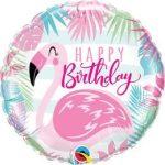 """Szülinapi fólia lufi 18"""" 45cm Happy Birthday, flamingo, flamingó, 57274"""