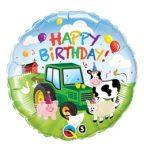 """Szülinapi fólia lufi 18"""" 45cm Happy Birthday farm, 29612"""