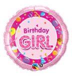 "Szülinapi fólia lufi 18"" 45cm Birthday Girl, 26273"