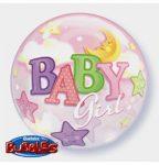 """Mintás Bubbles lufi 22"""" 56cm Baby girl Héliummal töltve, 69729"""